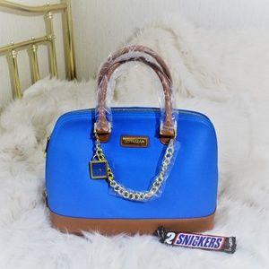 NWT Bright Blue Joy & Iman leather dome satchel